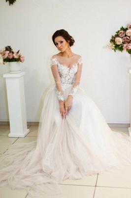 A-line Zipper Button Sweep-Train Lace Appliques Elegant Long-Sleeve Wedding Dress_2