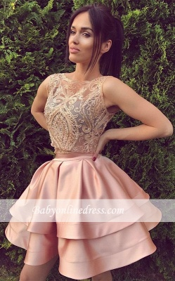 A-Line Bateau Sleeveless Appliques Sexy Mini Two Pieces Lace Homecoming Dresses_1