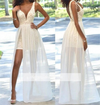 Sexy Lace Sheath Prom Dress Open-Back Sleeveless Deep V-Neck Evening Gowns_1