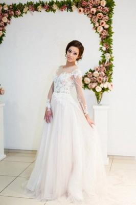 A-line Zipper Button Sweep-Train Lace Appliques Elegant Long-Sleeve Wedding Dress_4