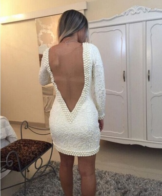 Short Sheath V-Neck Lace Homecoming Dresses Long Sleeves Backless Cocktail Dresses_4