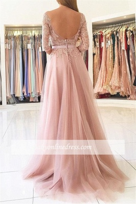 Lace Tulle Prom Dress Half Sleeves Backless Side Split Formal Gown_1