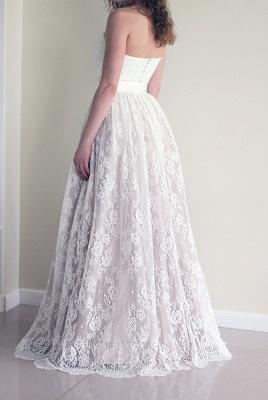 Simple Sweetheart strapless A-line Sleeveless Lace Sash Wedding Dress_3