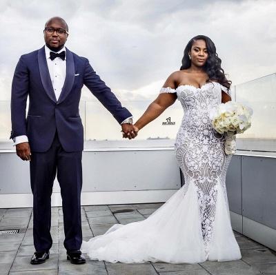 Modest Plus Size Wedding Dresses | Off-the-Shoulder Mermaid Bridal Gowns_4