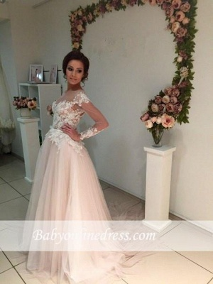 A-line Tulle Appliques Delicate Sweep-Train Lace Long-Sleeve Bridal Dress_6