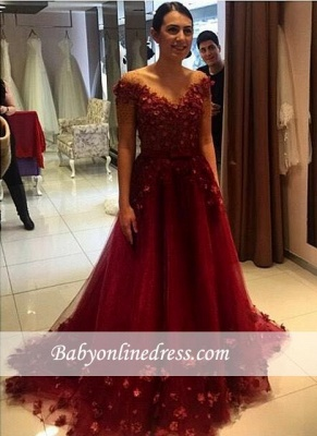 Formal Red Off-the-Shoulder Puffy 3D-Floral-Appliques 2018 Evening Gowns_3