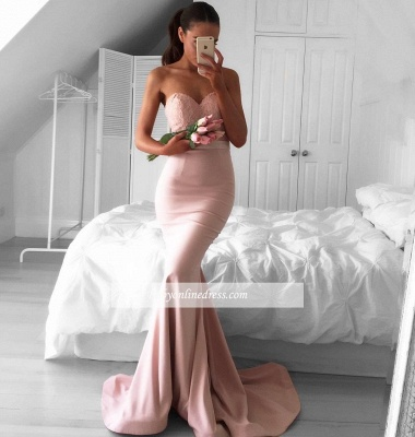 Sweetheart Pink Evening Gowns Mermaid Sleeveless Prom Dress BA4226_1