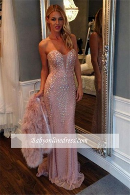 2018 Luxury Sheath Sweetheart Pink Prom Dress Sweep-Train Crystal Evening Gowns_3