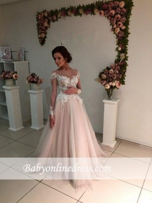 A-line Tulle Appliques Delicate Sweep-Train Lace Long-Sleeve Bridal Dress_3