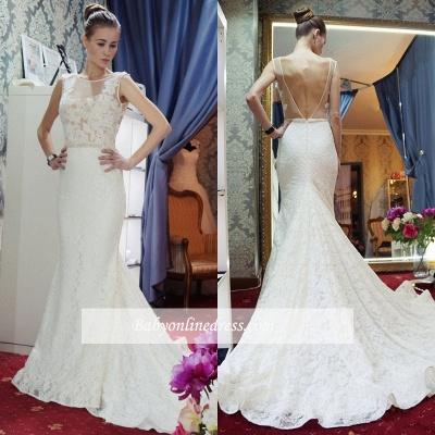 Zipper Sleeveless Lace Mermaid Backless Gorgeous Wedding Dresses_1