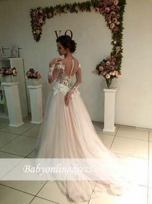 A-line Tulle Appliques Delicate Sweep-Train Lace Long-Sleeve Bridal Dress_1
