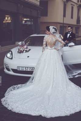 Gorgeous Tulle Appliques Wedding Dress Long-Sleeves Bridal Ball Gowns_3