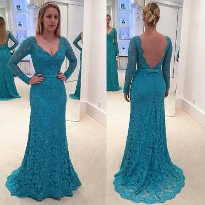 New Arrival Lace Long-Sleeves Mermaid Prom Dresses V-Neck Open-Back Evening Gowns_3