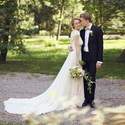 Chiffon Garden A-line V Neck Ruched with Handmade Flowers Beach Wedding Dresses_2