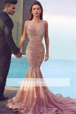 Sparkling Sheer Gorgeous Pink Sleeveless Mermaid Jewel Sequins Evening Dress_5