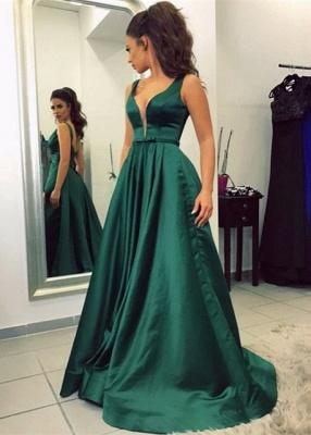 V-neck A-line Green Newest Sleeveless Backless Prom Dress_2