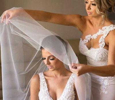 Elegant Mermaid Bridesmaid Dresses | One-Shoulder Lace Long Wedding Party Dresses_4