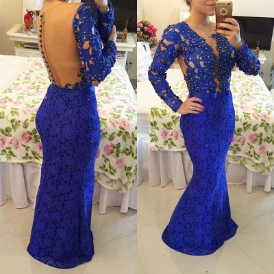 Royal Blue Long Sleeves Lace Evening Gowns Mermaid Sheer Illusion Prom Dresses_2