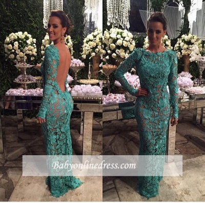 Alluring Sheer Lace Mermaid Prom Dresses Open Back Long-Sleeves Evening Gown_1