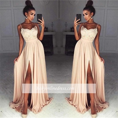 Sexy Summer Slit Evening Gowns | Spaghettis Straps Chiffon A-line Formal Dresses_1