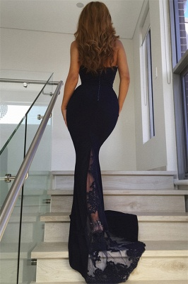 Long Fitted Navy Blue Lace Prom Dresses | Cheap Floor Length Evening Dresses_3