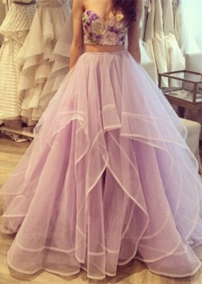 Two-Piece Prom Dresses 3D-Floral Appliques Top Layers Tulle Long Junior Evening Gowns_2