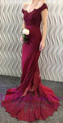 2018 Burgundy Lace Appliques Long Off-the-Shoulder Mermaid Prom Dresses LY86_3