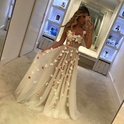 Romantic Flowers Prom Dresses   Spaghettis Straps Sheer A-line Evening Gowns_3