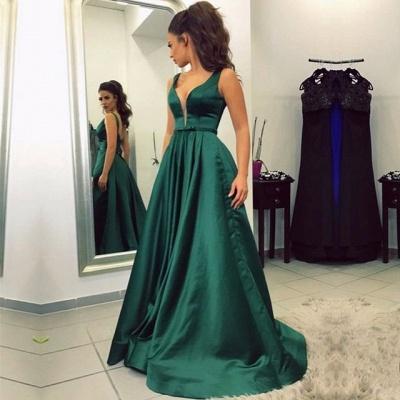 V-neck A-line Green Newest Sleeveless Backless Prom Dress_3