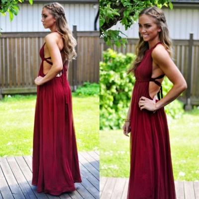 Sexy Open Back A-line Haler Prom Dresses Floor Length_3