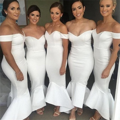 Simple White Mermaid Bridesmaid Dresses | Off-the-Shoulder Hi-Lo Maid of Honor Dress_3