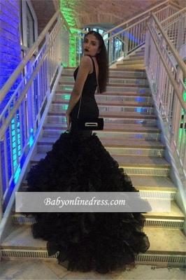 Sexy Black Deep V-Neck Prom Dress 2018 Mermaid Sleeveless Party Gowns_2