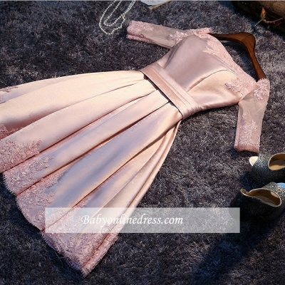 Short A-Line Off-the-Shoulder Half Sleeves Sash Pink Homecoming Dresses_1