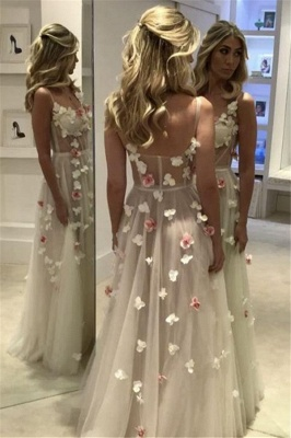 Romantic Flowers Prom Dresses   Spaghettis Straps Sheer A-line Evening Gowns_4
