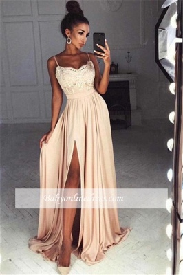 Sexy Summer Slit Evening Gowns | Spaghettis Straps Chiffon A-line Formal Dresses_3
