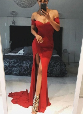 Simple Red Slit Evening Gowns | Off-the-Shoulder Long Prom Dresses_1
