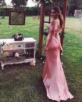 Glossy Pink Mermaid Bridesmaid Dresses | Cold Shoulder Long Formal Dresses_3
