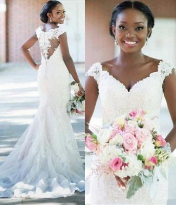 Elegant V-neck Sheath Sleeveless Long-Train Tulle Lace Sexy Wedding Dress_3
