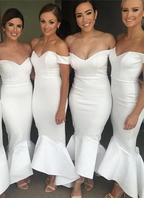 Simple White Mermaid Bridesmaid Dresses | Off-the-Shoulder Hi-Lo Maid of Honor Dress_1