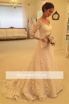 Off-the-Shoulder Buttons Appliques Long-Sleeves A-Line Lace Wedding Dresses_1