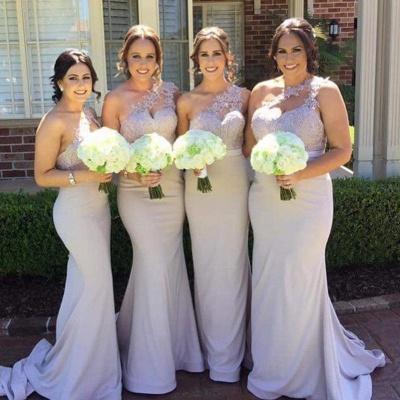 Elegant Mermaid Bridesmaid Dresses | One-Shoulder Lace Long Wedding Party Dresses_3