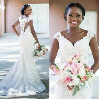 Elegant V-neck Sheath Sleeveless Long-Train Tulle Lace Sexy Wedding Dress_4