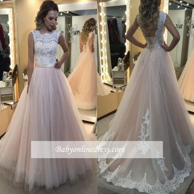 Lace Tulle Vintage Lace-up Sleeveless A-Line Wedding Dresses_1