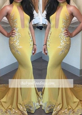 New Arrival Beautiful Yellow Appliques Keyhole Mermaid High-Neck Evening Dress_3