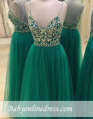 Beading Spaghetti A-line Straps Backless Green New-Arrival Evening Dress_1