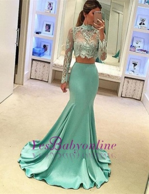 Mint Mermaid High Neck Party Dresses Long Sleeves Two Piece Prom Dresses_3