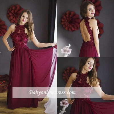 Lace Chiffon Sheath Burgundy Halter Floor-length Sleeveless Prom Dress_1