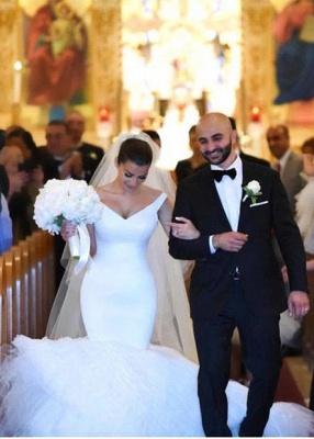 Gorgeous White Tulle Bridal Gowns | V-Neck Mermaid Wedding Dresses_2