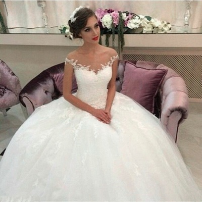 Elegant Tulle Lace Wedding Dresses Short Sleeves Bridal Gowns_1