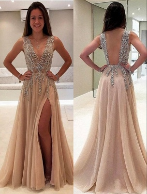Luxury Beading Champagne Prom Dresses | V-Neck Long A-line Evening Gowns_1
